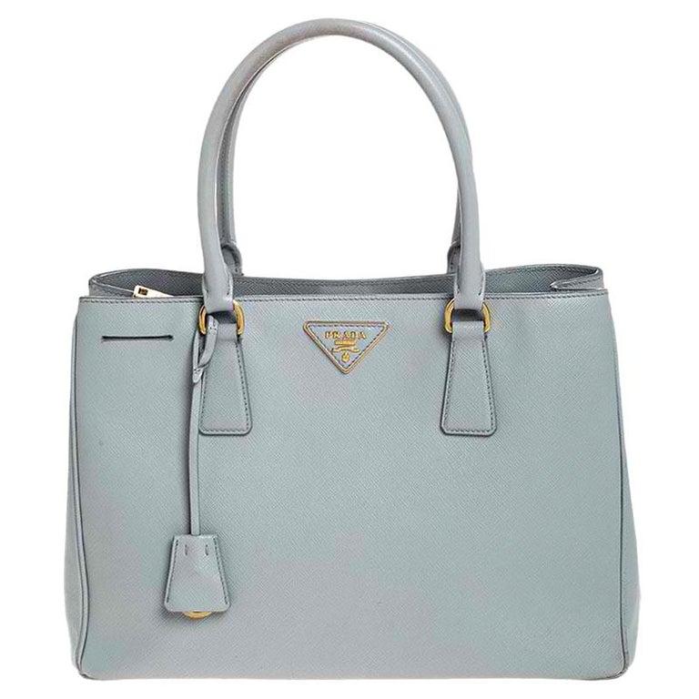 Prada Grey Saffiano Lux Leather Medium Galleria Tote For Sale