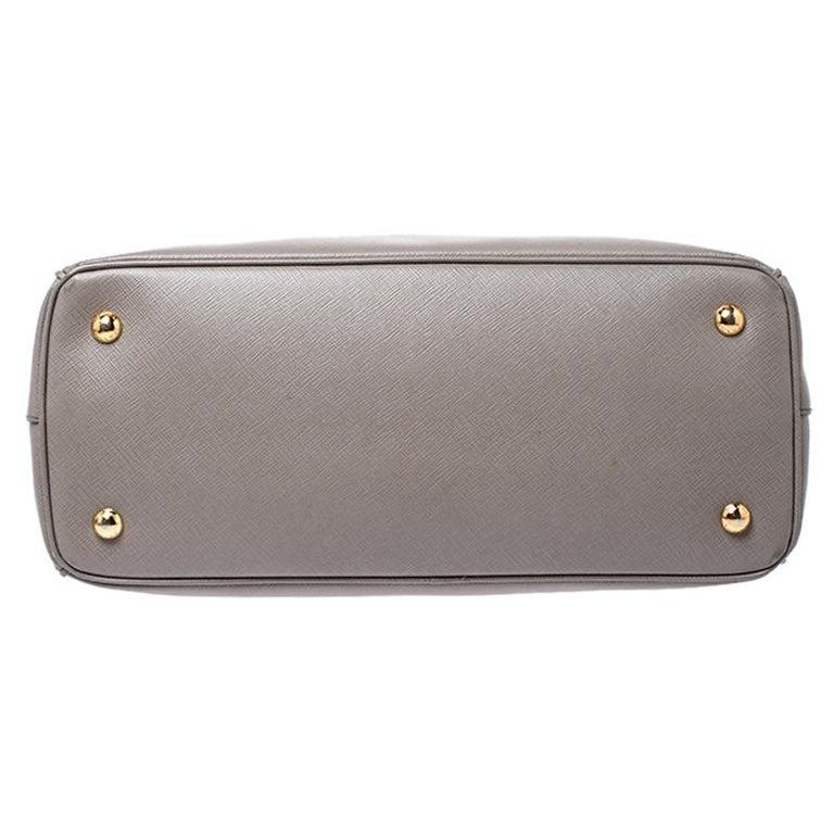 Prada Grey Saffiano Lux Leather Medium Tote For Sale 6