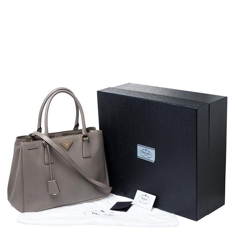 Prada Grey Saffiano Lux Leather Medium Tote For Sale 7