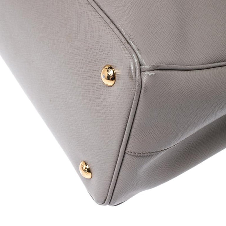 Women's Prada Grey Saffiano Lux Leather Medium Tote For Sale