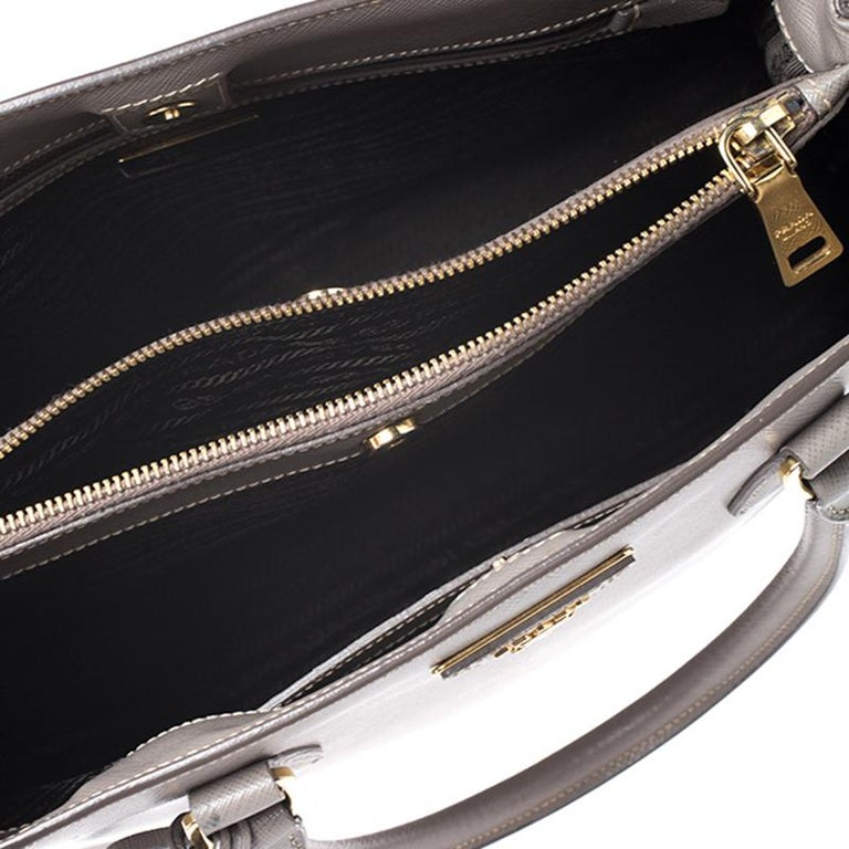Prada Grey Saffiano Lux Leather Medium Tote For Sale 1