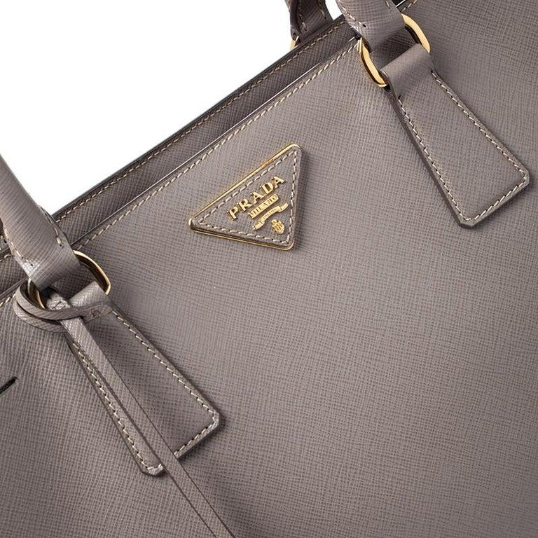 Prada Grey Saffiano Lux Leather Medium Tote For Sale 2