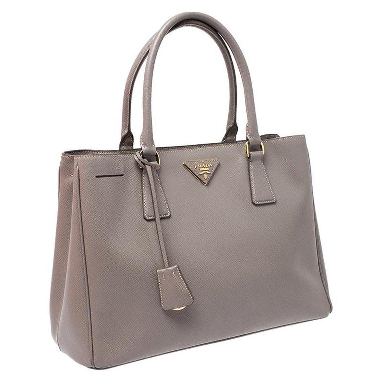 Prada Grey Saffiano Lux Leather Medium Tote For Sale 5