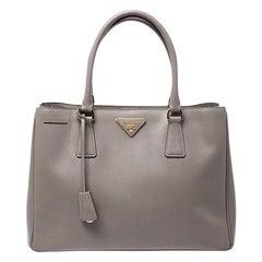 Prada Grey Saffiano Lux Leather Medium Tote