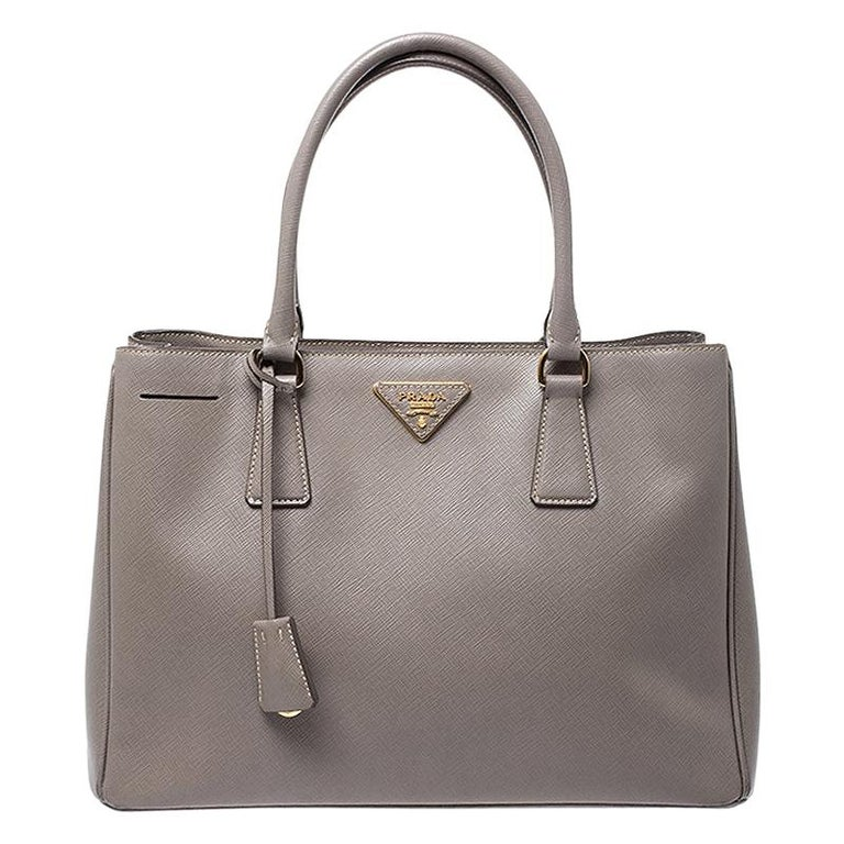 Prada Grey Saffiano Lux Leather Medium Tote For Sale