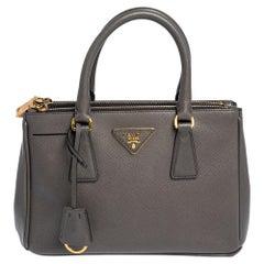 Prada Grey Saffiano Lux Leather Small Galleria Tote