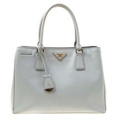 Prada Grey Saffiano Lux Leather Small Tote
