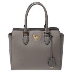 Prada Grey Saffiano Lux Leather Tote