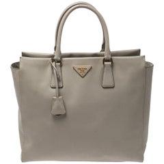 Prada Grey Saffiano Lux Leather Tote