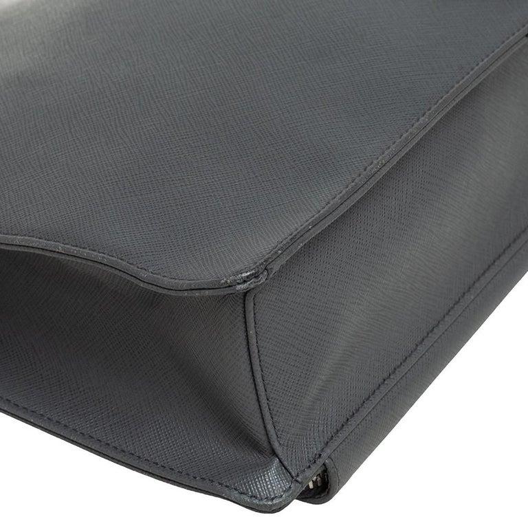 Prada Grey Saffiano Lux Leather Travel Briefcase For Sale 5
