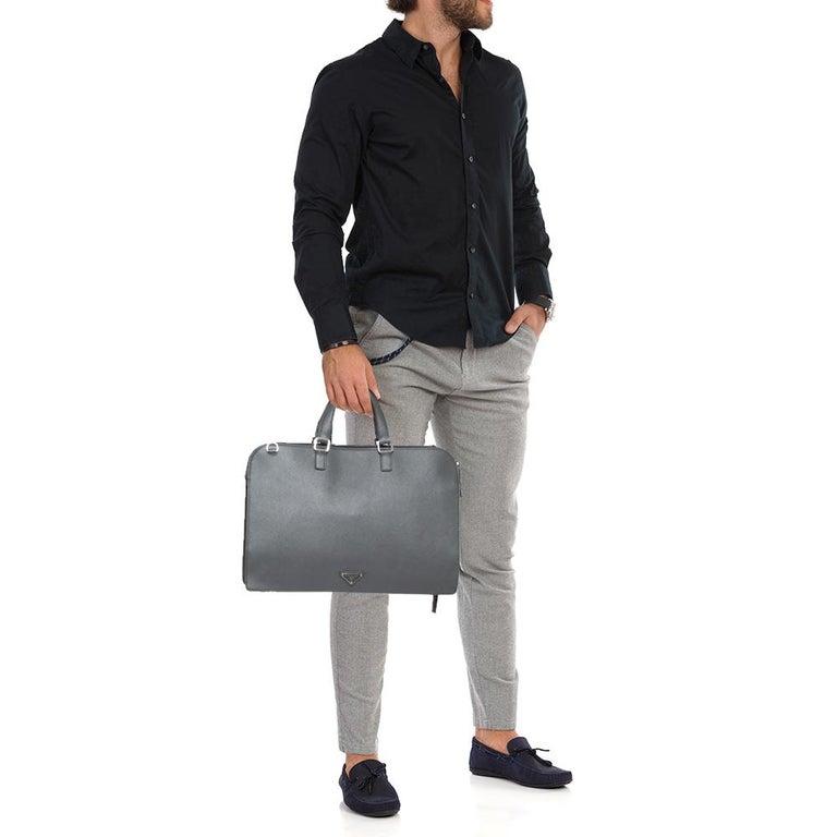 Gray Prada Grey Saffiano Lux Leather Travel Briefcase For Sale