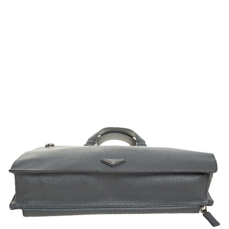 Men's Prada Grey Saffiano Lux Leather Travel Briefcase For Sale