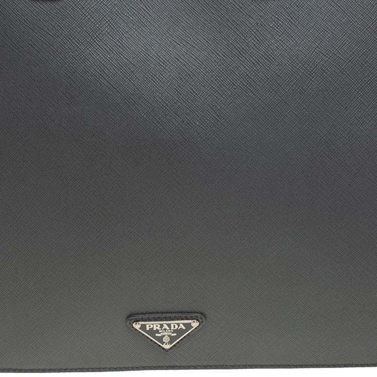 Prada Grey Saffiano Lux Leather Travel Briefcase For Sale 1