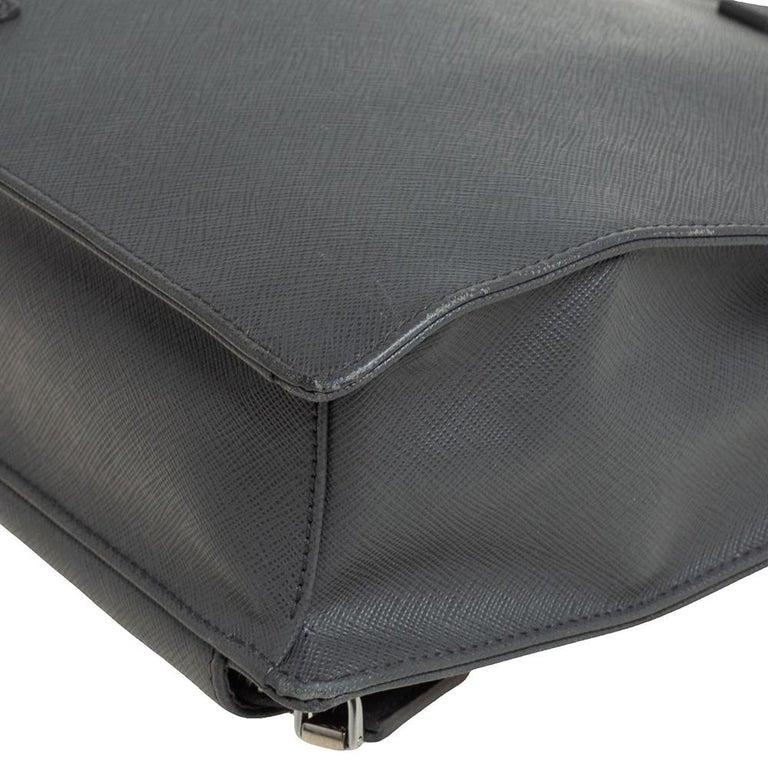Prada Grey Saffiano Lux Leather Travel Briefcase For Sale 2