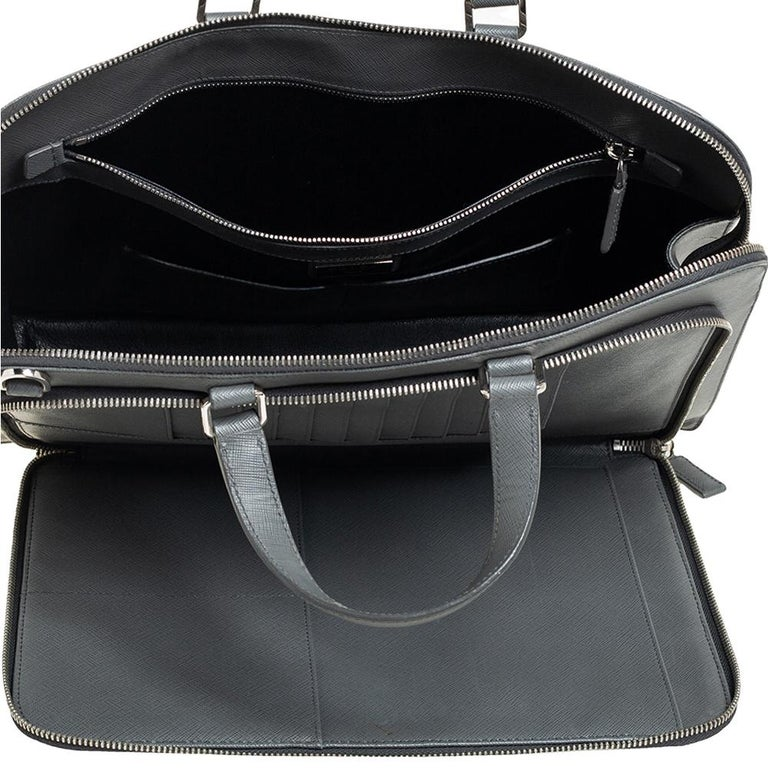 Prada Grey Saffiano Lux Leather Travel Briefcase For Sale 3