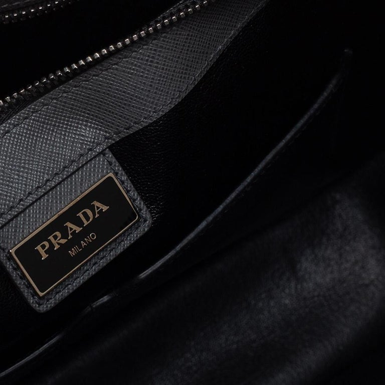 Prada Grey Saffiano Lux Leather Travel Briefcase For Sale 4