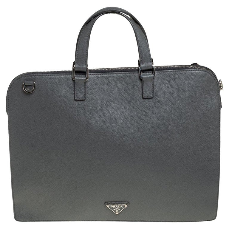 Prada Grey Saffiano Lux Leather Travel Briefcase For Sale