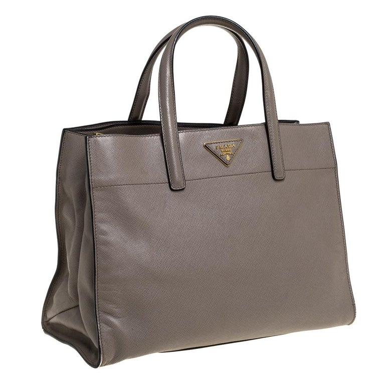 Gray Prada Grey Saffiano Soft Leather Middle Zip Tote For Sale