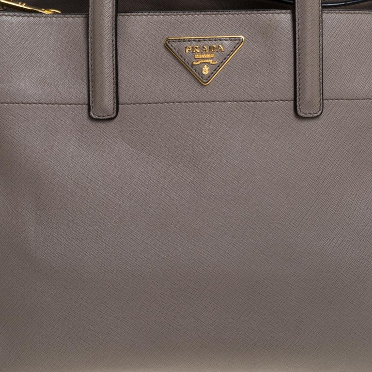 Women's Prada Grey Saffiano Soft Leather Middle Zip Tote For Sale