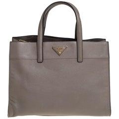 Prada Grey Saffiano Soft Leather Middle Zip Tote