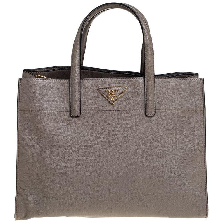 Prada Grey Saffiano Soft Leather Middle Zip Tote For Sale