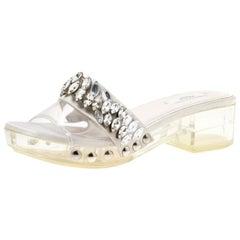 Prada Grey Satin And PVC Crystal Embellished Platform Slides Size 36