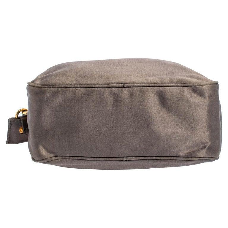 Prada Grey Satin Mini Promenade Crossbody Bag For Sale 5