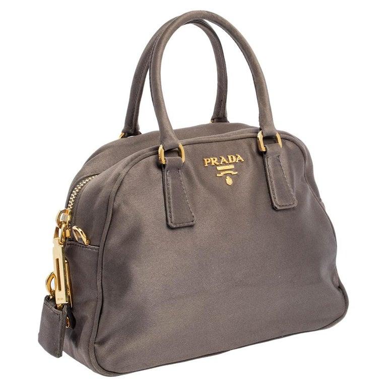 Gray Prada Grey Satin Mini Promenade Crossbody Bag For Sale