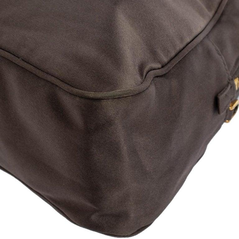 Prada Grey Satin Mini Promenade Crossbody Bag In Good Condition For Sale In Dubai, Al Qouz 2