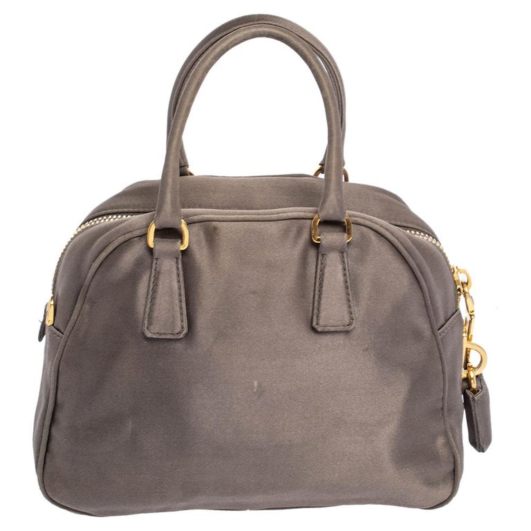 Women's Prada Grey Satin Mini Promenade Crossbody Bag For Sale