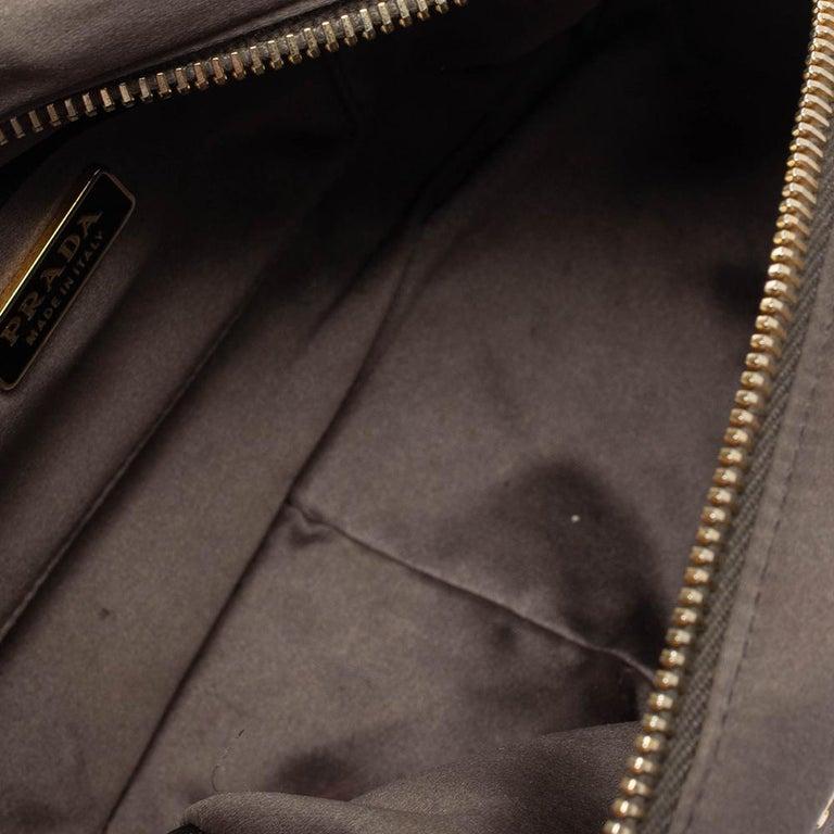 Prada Grey Satin Mini Promenade Crossbody Bag For Sale 1