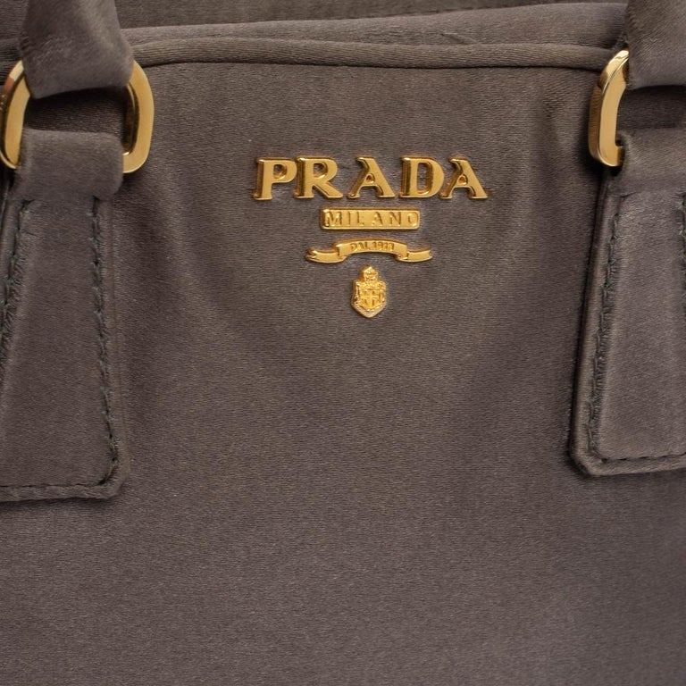 Prada Grey Satin Mini Promenade Crossbody Bag For Sale 2