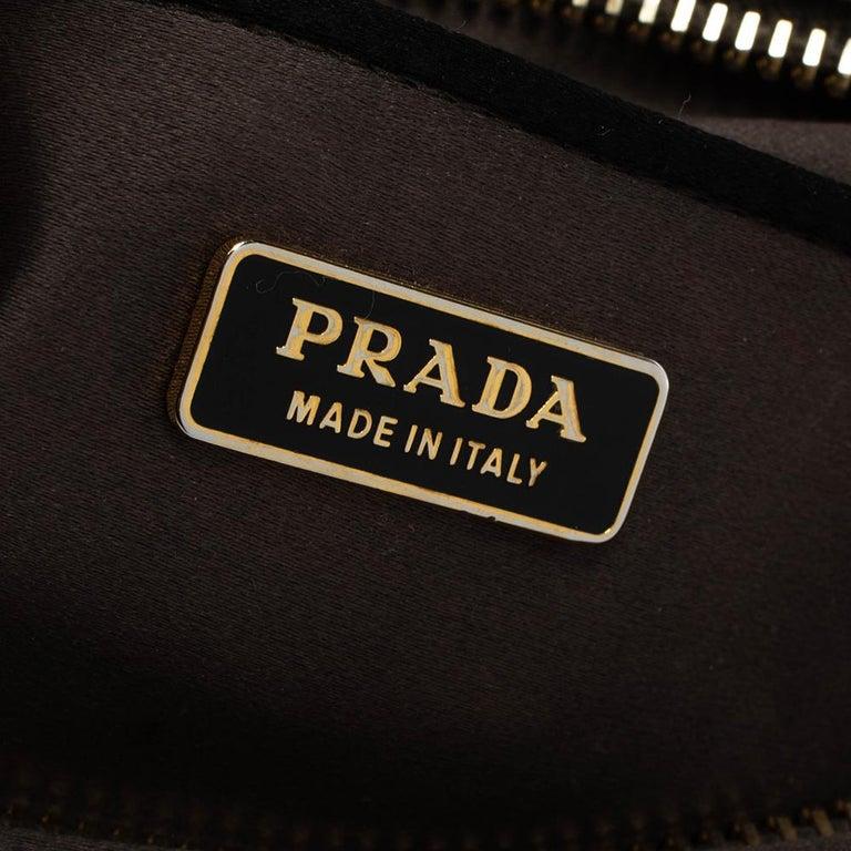 Prada Grey Satin Mini Promenade Crossbody Bag For Sale 3