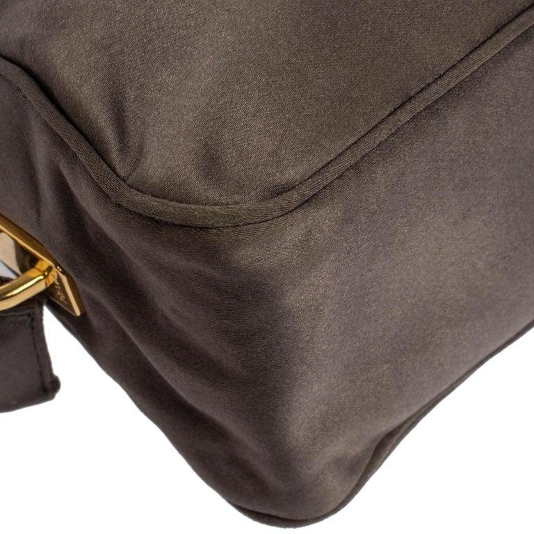 Prada Grey Satin Mini Promenade Crossbody Bag For Sale 4