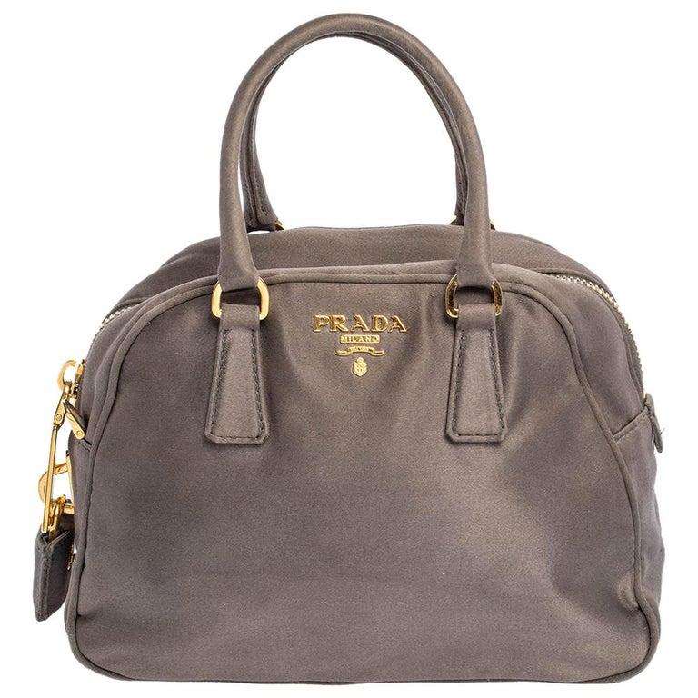 Prada Grey Satin Mini Promenade Crossbody Bag For Sale