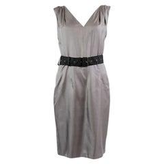 PRADA grey silk BELTED Sleeveless Cocktail Dress 40