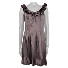 PRADA grey silk SATIN RUFFLED Sleeveless Shift Cocktail Dress 42