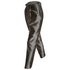 PRADA grey silk shantung pants - Unworn, New