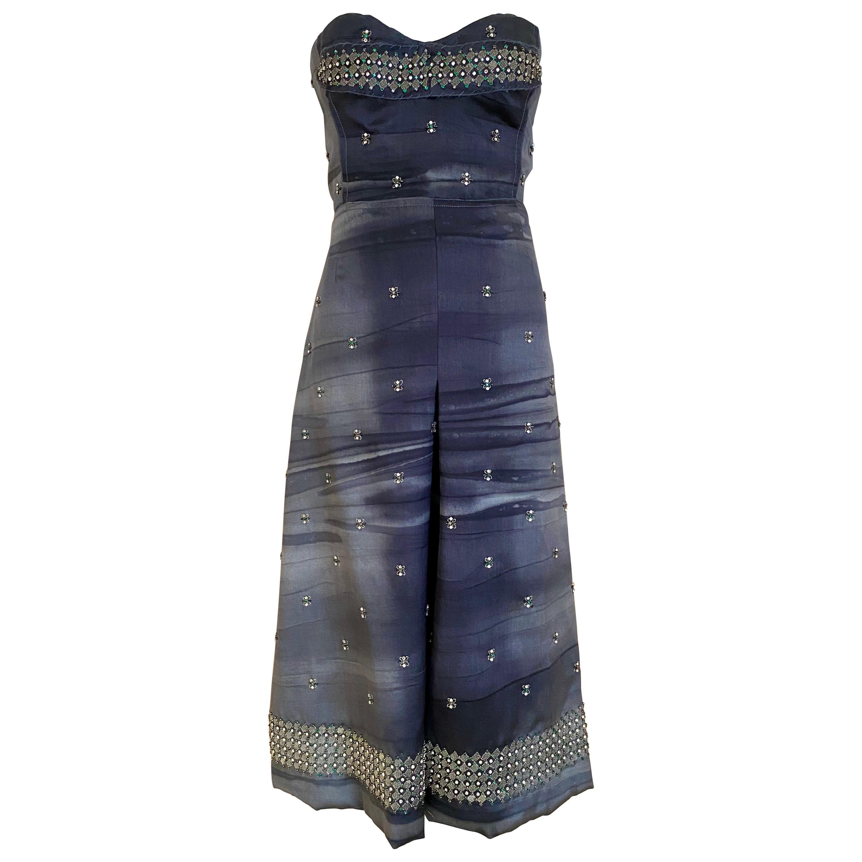 Prada Grey  Silk strapless cocktail Dress