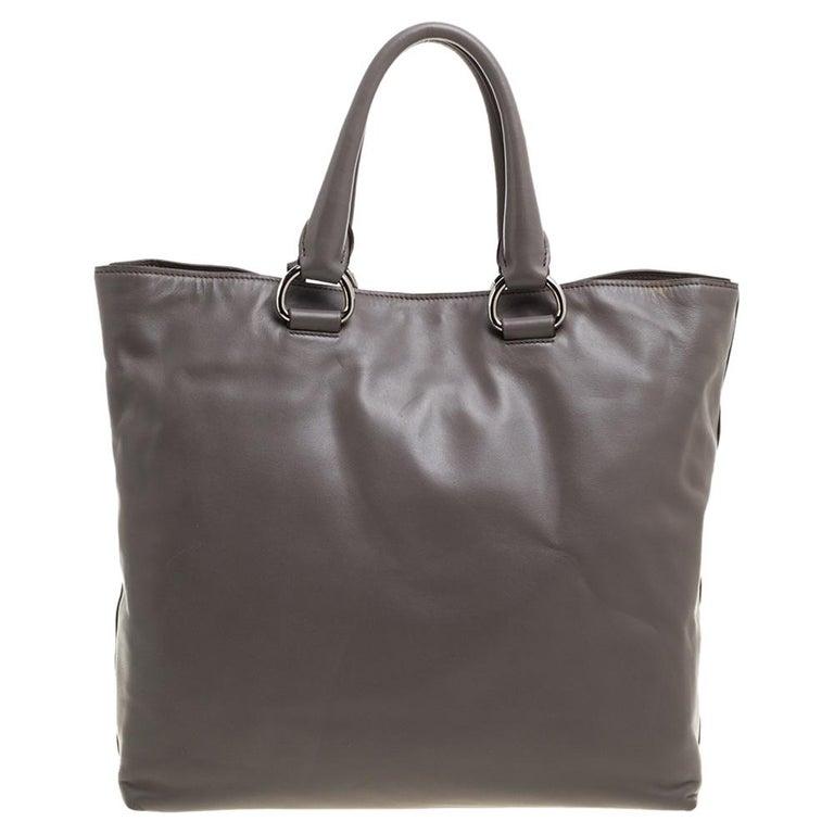Prada Grey Soft Calf Leather Shopper Tote For Sale 5