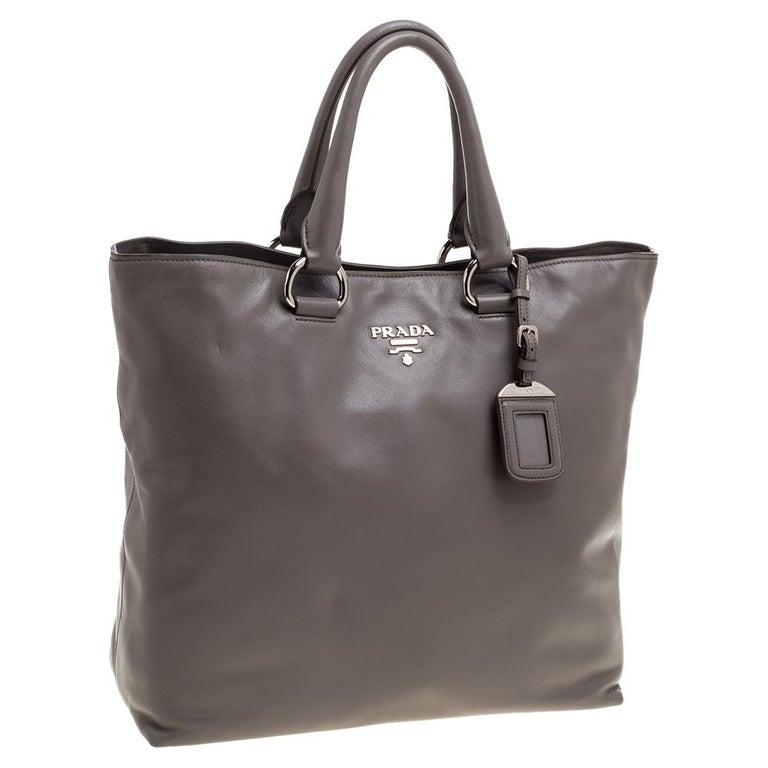 Black Prada Grey Soft Calf Leather Shopper Tote For Sale