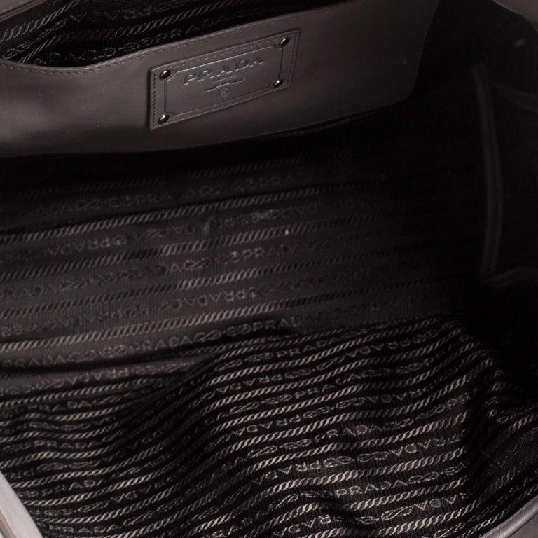Women's Prada Grey Soft Calf Leather Shopper Tote For Sale