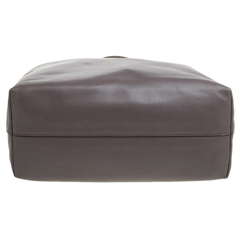 Prada Grey Soft Calf Leather Shopper Tote For Sale 1