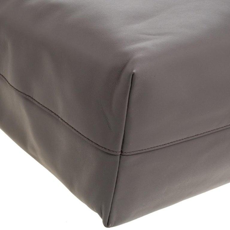 Prada Grey Soft Calf Leather Shopper Tote For Sale 2