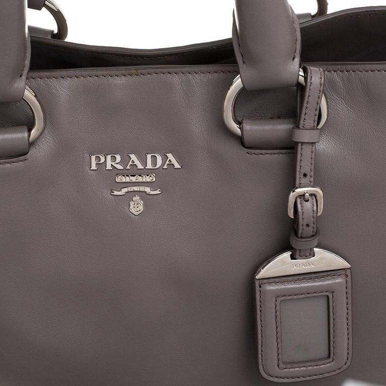 Prada Grey Soft Calf Leather Shopper Tote For Sale 3