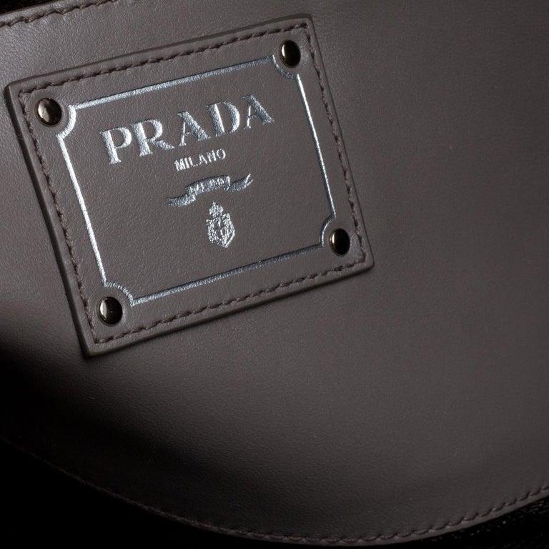 Prada Grey Soft Calf Leather Shopper Tote For Sale 4