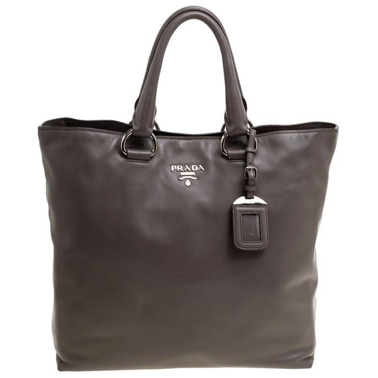 Prada Grey Soft Calf Leather Shopper Tote For Sale