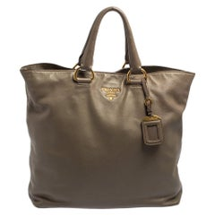 Prada Grey Soft Calf Leather Shopping Tote
