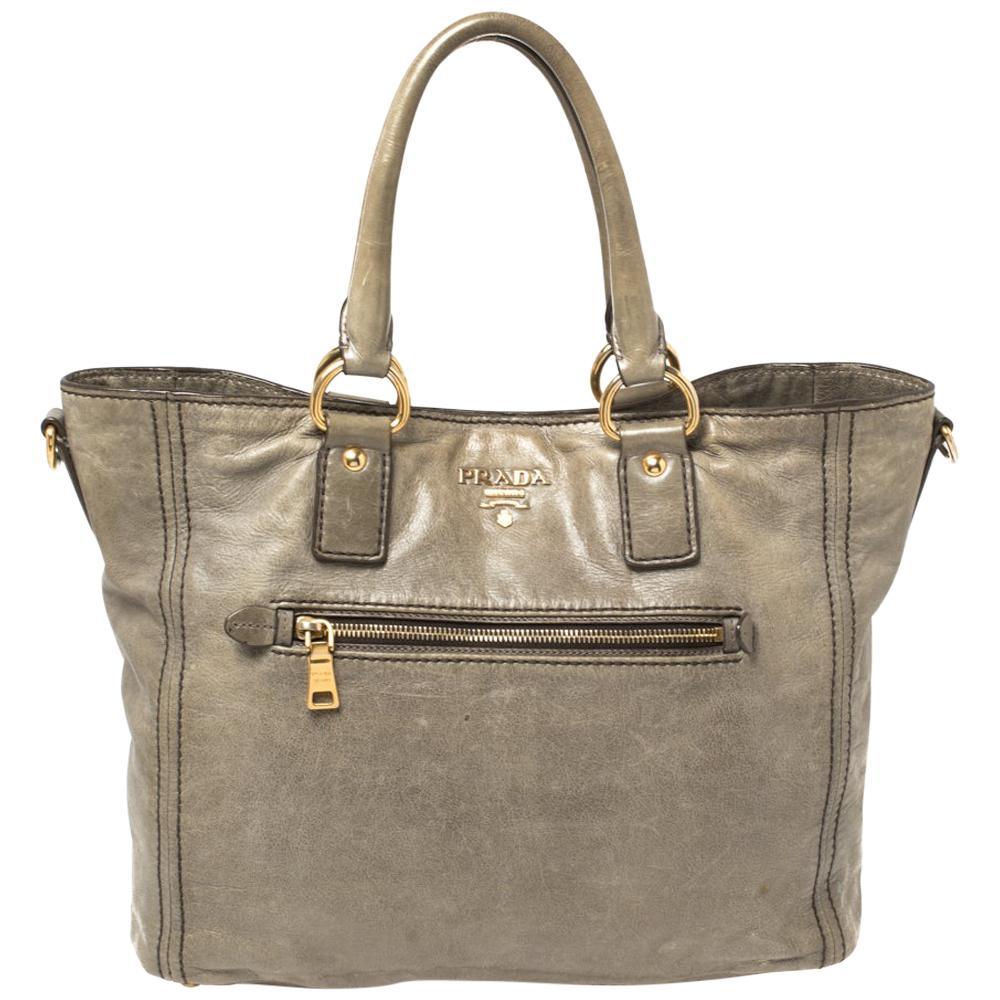 Prada Grey Soft Leather Front Zip Tote
