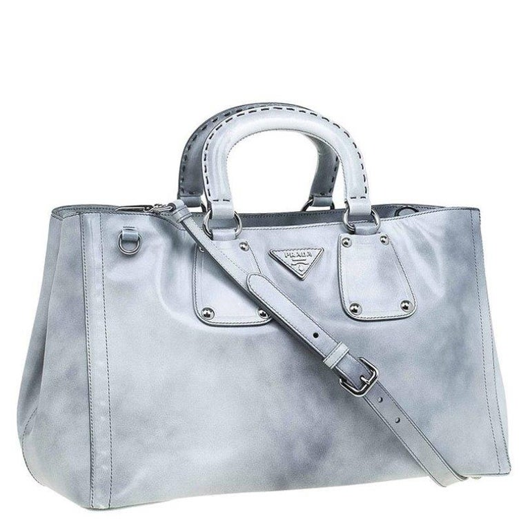 Women's Prada Grey Spazzolato Leather Shopping Tote For Sale